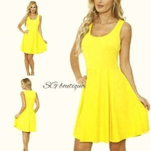 🆕⭐ Yellow fit and flare jersey dress